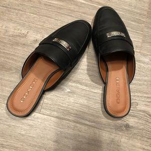 New coach black leather mule slides shoes